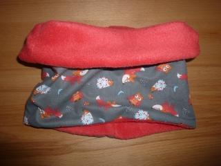 Kinderloop ~ Schlauchschal mit Füchsen, Igeln und Eulen kaufen ~ Halssocke, genäht aus Baumwollstoff mit Fleece ~ kuscheliger Schlupfschal - Handarbeit kaufen
