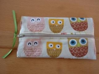 Etui * ~ Federtasche * ~ Schlampermäppchen, genäht aus Baumwollstoffen mit Eulen kaufen * Stifterolle ~