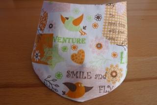 Wendehalstuch aus Baumwollstoffen mit Vögeln  orange - weiß - grün genäht kaufen ~*~ mit Druckknopf ~ romantisch  - Handarbeit kaufen