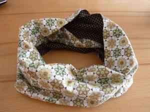 Schlauchschal genäht aus Baumwollstoffen kaufen* ~ * Loop ~  Wendeschal mit Blüten und Pünktchen ~ Herbst ~ Halstuch - Handarbeit kaufen