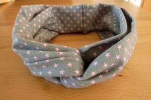 Ein Stirnband aus Baumwolljersey in ~grau~rosa~ genäht für Erwachsene kaufen ~~ mit Sternchen ~~ - Handarbeit kaufen
