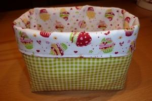 Buntes Utensilo/ Stoffkörbchen aus Baumwollstoffen genäht kaufen ~~ zu Ostern ~~ mit Muffins ~*~ Tante Ema Stoff ~*~ Aufbewahrung - Handarbeit kaufen