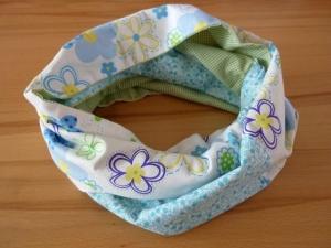 Schlauchschal bzw. Loop aus Baumwollstoffen im Patchworklook genäht kaufen ~ Loop ~ * ~ Blumenmuster ~   - Handarbeit kaufen