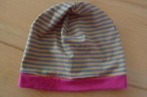 Beanie mit Streifen in bunten Farben aus Baumwolljerseystoffen mit Elasthan genäht kaufen  - Handarbeit kaufen
