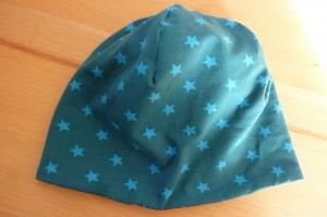 Kinderwendebeanie mit Sternen aus Baumwolljerseystoff mit Elasthan  in Blautönen genäht kaufen   - Handarbeit kaufen