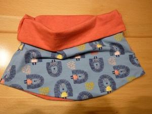 Kinderloop ~ Schlauchschal mit Igeln aus Baumwolljersey handgenäht in blaugrau kaufen~ Halssocke ~ Schlupfschal  - Handarbeit kaufen