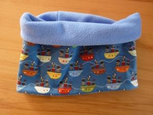 Kinderschal / Schlupfschal genäht aus Baumwollstoff mit Fleece ~ Loop ~ Kinderschlauchschal ~ Halssocke mit Schiffen