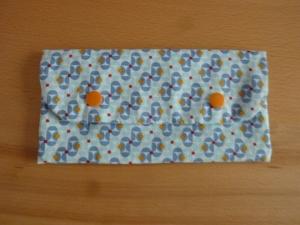 Täschchen bzw. kleines Portemonnaie aus Baumwollstoff in blau gemustert und genäht kaufen