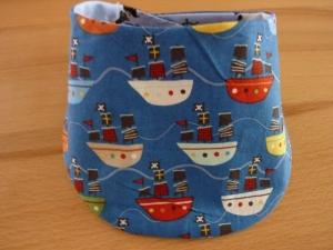 Wendehalstuch kunterbunt * genäht aus Baumwollstoffen mit Druckknopf kaufen ~ Schiffe und Piraten