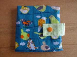 Genähte Minibuchhülle, bzw. -tasche aus Baumwollstoff mit Vogelmotiven kaufen ~~ Buchhülle für Minibücher~~ zum Mitnehmen für Unterwegs - Handarbeit kaufen