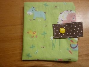 Genähte Minibuchhülle aus Baumwollstoff mit Tiermotiven kaufen ~~ Buchhülle für Minibücher~~ zum Mitnehmen für Unterwegs                           - Handarbeit kaufen