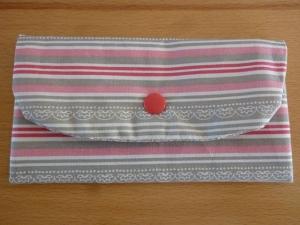 Täschchen bzw. kleines Portemonnaie aus Baumwollstoff in hellgrau und rosa mit Streifenmuster genäht kaufen   - Handarbeit kaufen