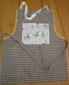 Kinderschürze aus Baumwollstoffen in  braun - weiß genäht kaufen ~ Backschürze ~ Kochschürze ~ Elefanten ~ Kaufladen  - Handarbeit kaufen