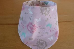 Wendehalstuch aus Baumwollstoffen mit Pusteblumen in rosa - weiß genäht kaufen ~~ mit Druckknopf zu schließen ~ * ~ - Handarbeit kaufen