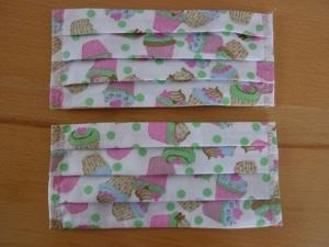 Behelfsmundschutz aus Baumwollstoffen genäht in rosa und mintgrün kaufen ~*~ k e i n  Virenschutz! lediglich Mundabdeckung um andere Personen zu schützen.~   - Handarbeit kaufen