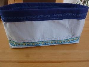 Utensilo * Aufbewahrungskorb aus Baumwollstoff in hell und dunkelblau genäht kaufen  * Körbchen aus Stoff für das Kinder- oder Badezimmer  - Handarbeit kaufen