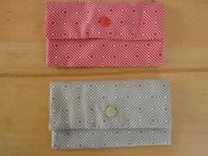 Täschchen bzw. kleines Portemonnaie aus Baumwollstoff in beige oder rot mit Rautenmuster genäht kaufen      - Handarbeit kaufen