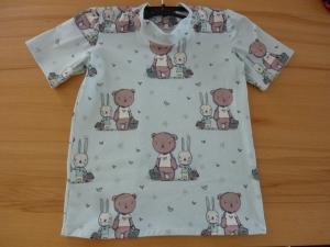 Kindershirt mit kurzem Ärmeln aus Baumwolljersey genäht in mint, mit Bären und Hasen kaufen  ~*~  Ostern ~*~ - Handarbeit kaufen