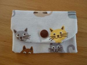 Täschchen bzw. kleines Portemonnaie aus Baumwollstoff mit Katzen in beige, gelb und  braun genäht kaufen        - Handarbeit kaufen