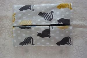 Wende-Taschentücher Tasche genäht aus Baumwollstoffen mit Katzen und Kreisen kaufen * TaTüTa* Kosmetiktäschchen ~ griffbereite Taschentücher  - Handarbeit kaufen