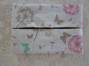 Wende-Taschentücher Tasche genäht aus Baumwollstoffen mit Blüten und Pusteblumen kaufen * TaTüTa* Kosmetiktäschchen ~ griffbereite Taschentücher  - Handarbeit kaufen