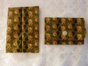 Wende - Taschentuchtasche + kleines Portemonnaie im Scheckkartenformat genäht aus Baumwollstoff mit Bibern kaufen ~ * ~  - Handarbeit kaufen