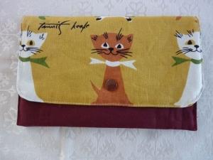 Universaltäschchen bzw. Portemonnaie/ Täschchen aus Baumwollstoffenen genäht in bunt mit drei großen Kätzchen kaufen   - Handarbeit kaufen