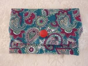 Täschchen bzw. kleines Portemonnaie aus Baumwollstoffin petrol mit Blüten und Paisleymuster genäht kaufen  - Handarbeit kaufen