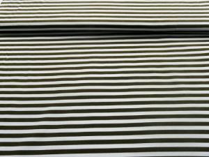 Baumwoll-Jersey Streifen weiß-oliv