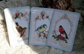 3 Grußkarten / Postkarten / Dekokarten als Set mit romantischen Vogel Vintage Motiven