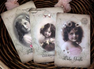 Tolles 3-er Postkarten / Grußkarten/ Dekokarten Set mit romantischen Vintage Motiven.