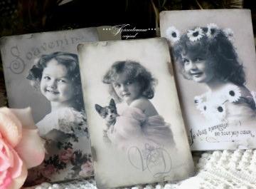 Tolles 3-er Postkarten / Grußkarten Set mit romantischen Vintage Mädchen Motiven.