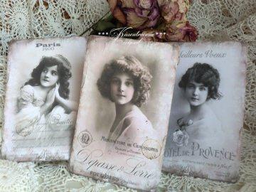 Schöne Postkarten * Grußkarten * Dekokarten * 3-er Set, mit romantischen Vintage Motiven in französischem Stil