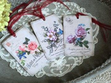 9-er Set Geschenkanhänger mit tollen Vintage Rosen Motiven & französischer Schrift