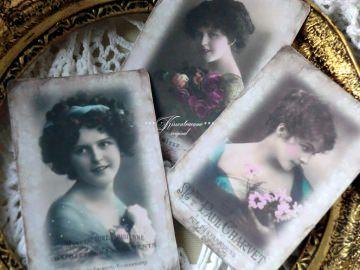 Schönes 3-er Postkarten Set mit romantischen Vintage Motiven im französischem Stil.