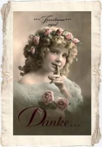 Schöne Karte / Dankeskarte im Postkartenformat im Vintage Stil