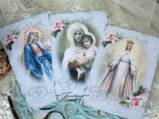 Schönes 3-er Postkarten Set mit alten Madonnen Motiven im Shabby / Vintage Stil.
