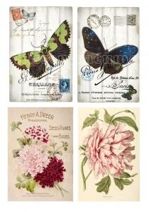 Bügelbild, Bügelbilder, für deine eigenen Werke im Shabby / Vintage Stil, 4 verschiedene Motive.