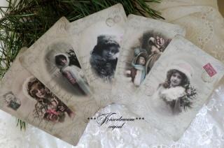 5 Weihnachtskarten / Grußkarten mit tollen, alten Vintage Motiven in zarten Pastelltönen