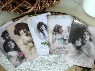 Schönes 5-er Postkarten / Grußkarten Set mit wunderschönen, alten Vintage Motiven.