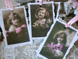 9-er Set Geschenkanhänger / Papieranhänger mit herrlichen Vintage Motiven in feinen Pastelltönen und Büttenrand