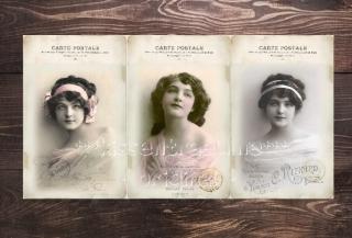 9-er Set Geschenkanhänger / Papieranhänger mit Damen Vintage Motiven in feinen Pastelltönen