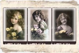 9-er Set Geschenkanhänger / Papieranhänger mit Mädchen Vintage Motiven & schönen Blumen