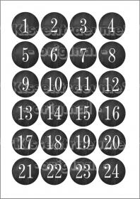 Bügelbilderfolie, Bügelbild Zahlen, 24 Adventskalenderzahlen für Adventssäckchen / Adventskalender zum aufbügeln.