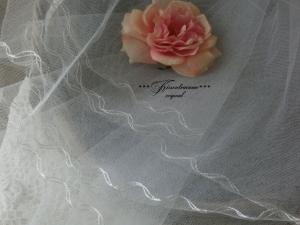 Wunderschöner, alter Vintage Brautschleier / Vintage Dekoration mit besticktem Abschlussrand.