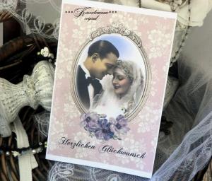 Wunderschöne Glückwunsch Karte zu Hochzeit / Hochzeitskarte mit Briefumschlag, in feinem Vintage Stil.