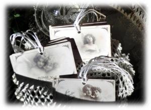 Geschenkanhänger, Weihnachtsanhänger mit Engel  Motiven & französischen Weihnachtsgrüssen