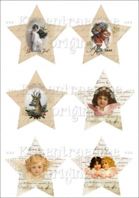 Bügelbilder, Sterne für deine eigenen Werke im Shabby / Vintage Stil, 6 verschiedene Motive in Sternenform.