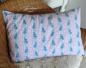 Schöner Kissenbezug in tollen Pastelfarben mit herrlichen Rosenmuster, aus altem Vintage Bauernstoff.