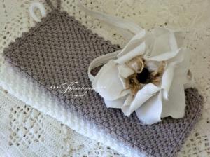 Handgestrickes Spültuch / Spüllappen / Waschlappen aus tollem Baumwollgarn, als 2-er Set in schönen Frühlingsfarben